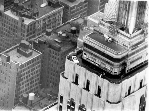 A Ford Mustang on top of the Empire State Building