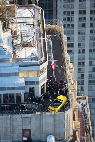 Ford Mustang on top of the Empire State Building bird's eye view