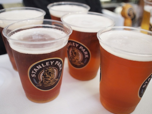 Stanley Park Brewery's 1897 Amber Ale at the lululemon PreWheeze event
