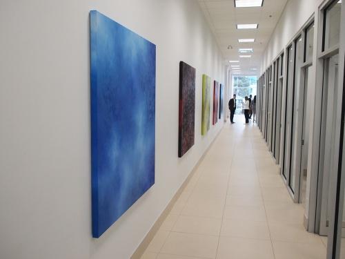 Art installation hallway at Brian Jessel BMW
