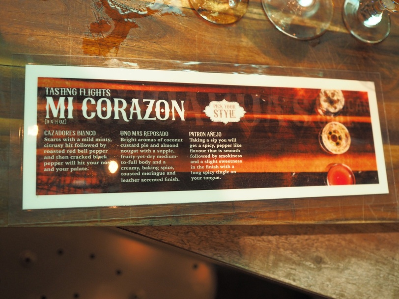 Chihuahua's Mexican Grill Mi Corazon tequila flight menu