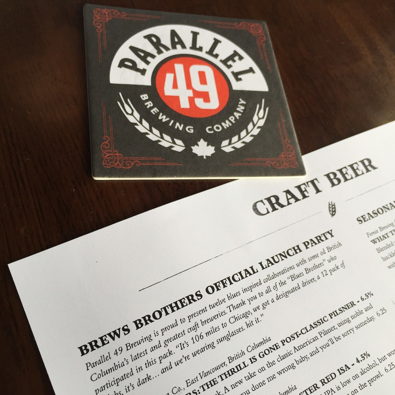 Parallel 49 Brewing Company Brews Brothers menu