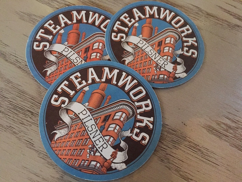 Steamworks Brewing coasters