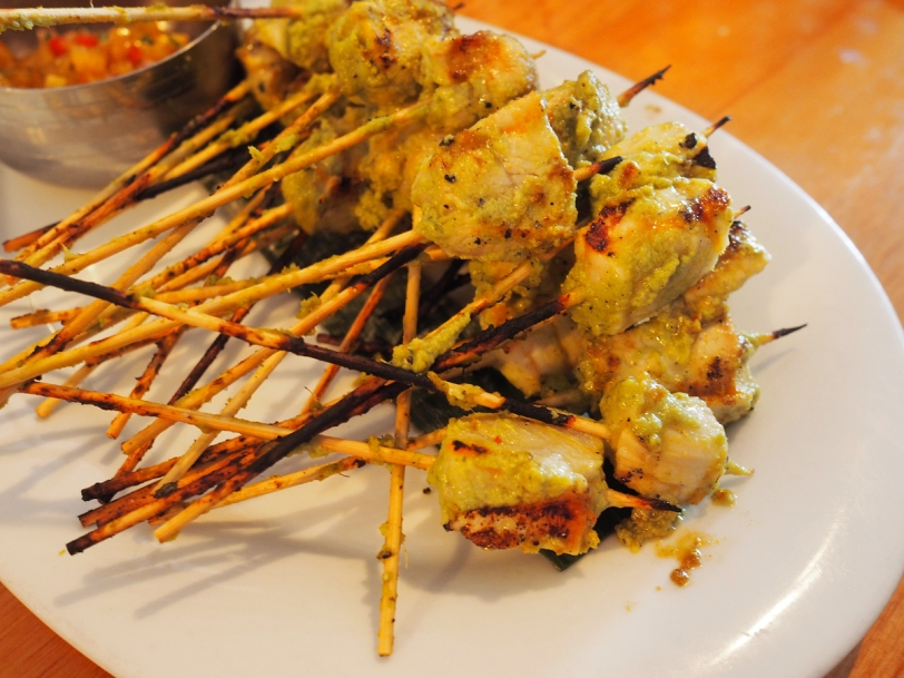 Acadian sturgeon skewers