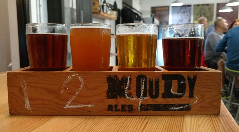 Moody Ales craft beer flight
