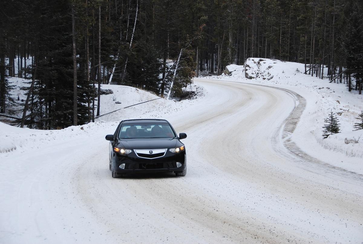 acura snowy road